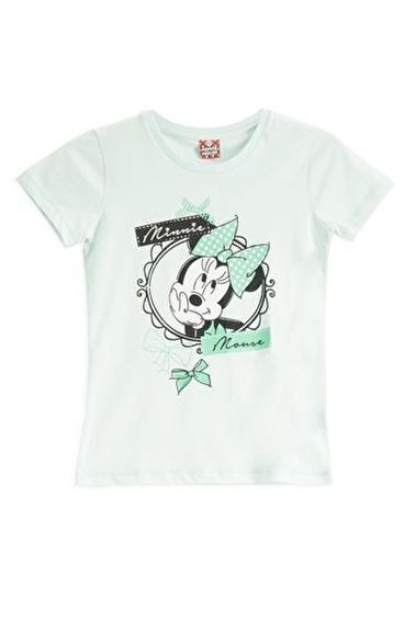 Mickey Mouse Mickey & Minnie Mouse Lisanslı Açık Gri Kız Çocuk T-Shirt Mavi